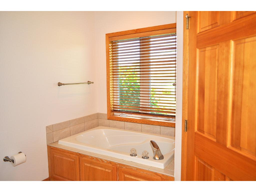 Master bedroom bath has Jacuzzi tub, double sink vanity and double headed shower.