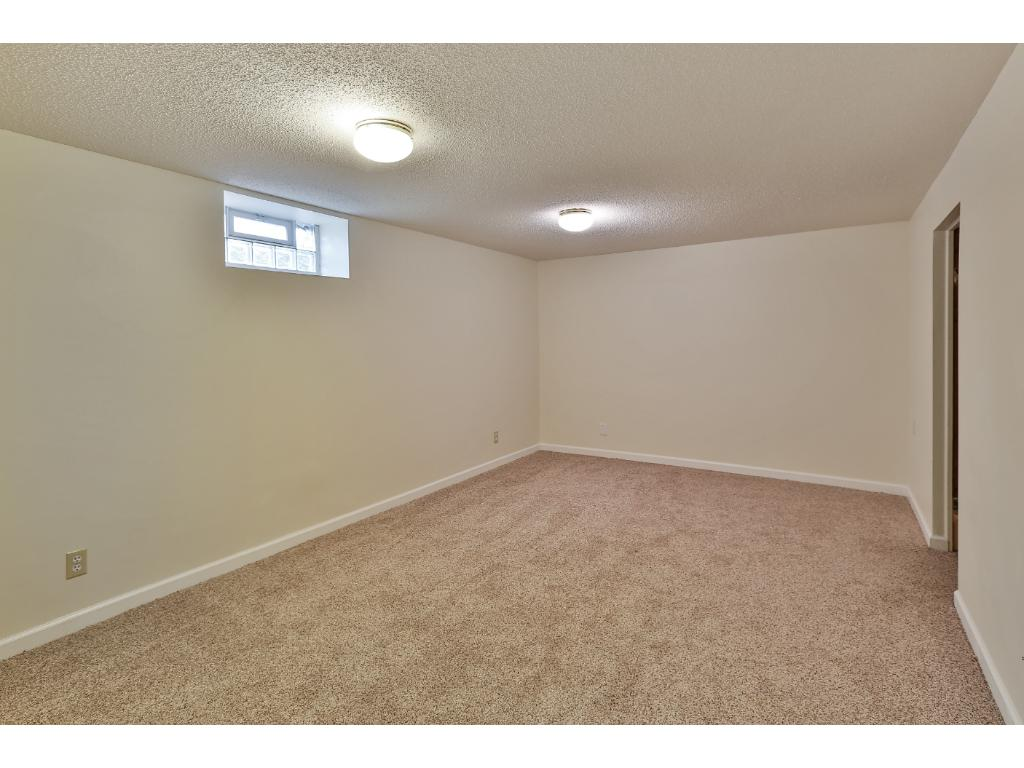 The spacious lower level family room boasts new carpet and has cable access.