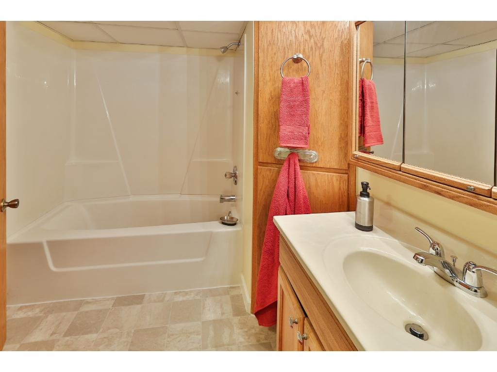 The all new lower level full bath has a large linen closet.