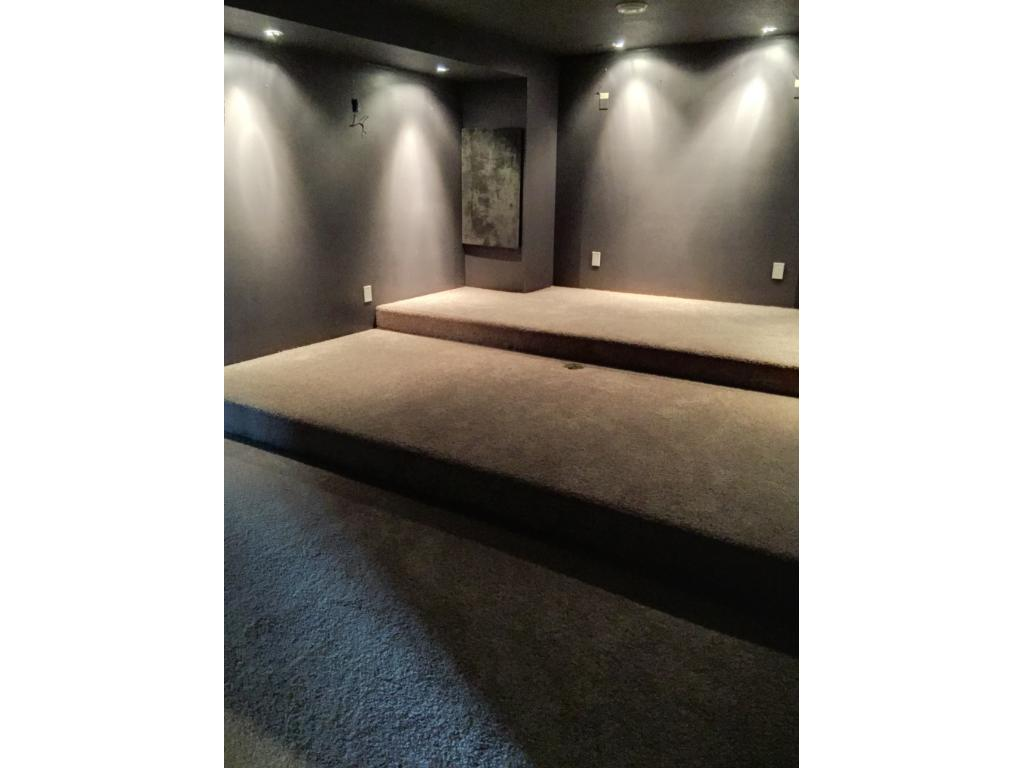 Lower level tiered media/theater room. Adjustable lighting and covered space for theater components.