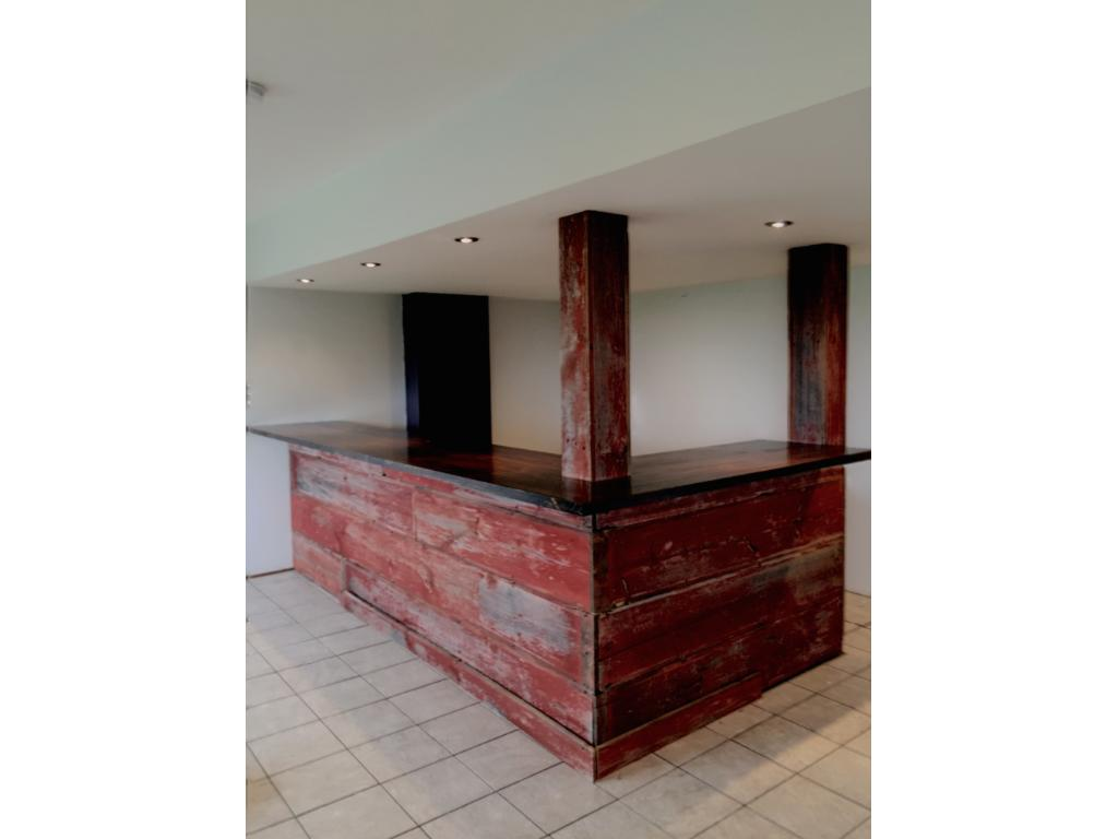 Custom Barnwood bar in large rec space. Recessed lighting on dimmers. Bright, lookout basement is a blank canvas waiting for your final stamp. Finishes nearly complete just needs finish carpentry - window/door casing, base molding.