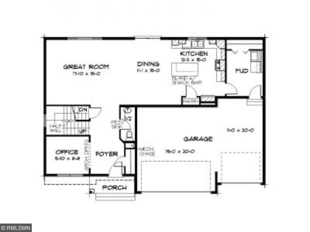 Main Level Layout. Great room on this level includes a corner fireplace.