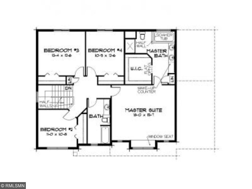 Upper level layout in this home.
