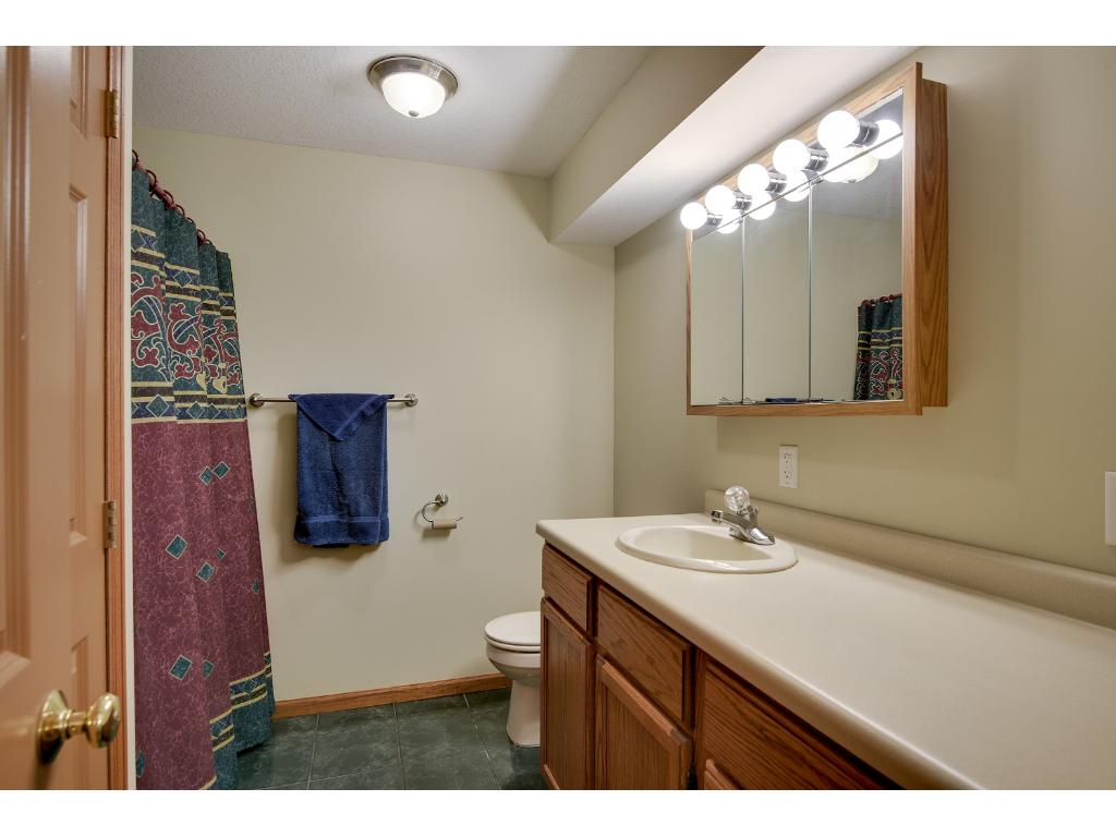 3/4 Bath in Basement with Linen Closet.