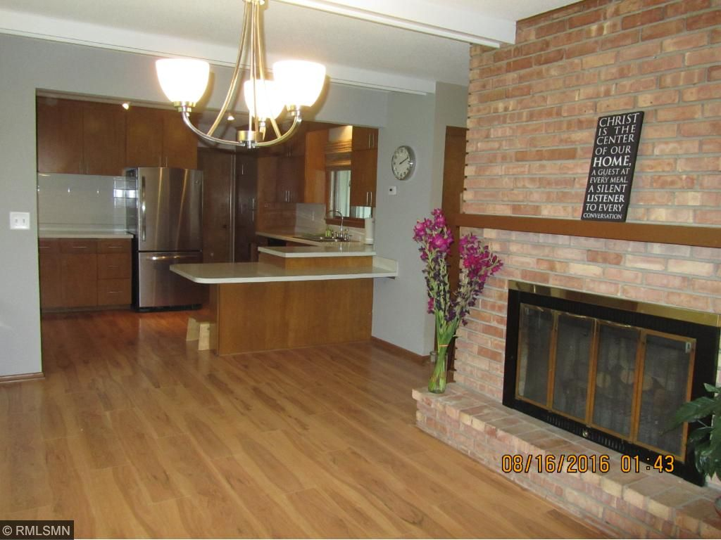 Fireplace, dining room, kitchen