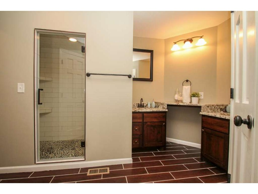 Master Bath with two sinks and large walk in shower.