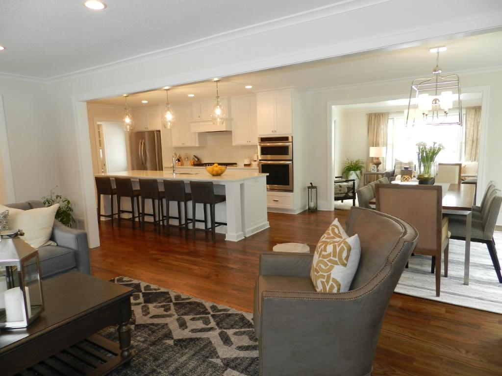 Open floor plan to the Kitchen and Dining Room from the Living Room. Fabulous home for living and entertaining!