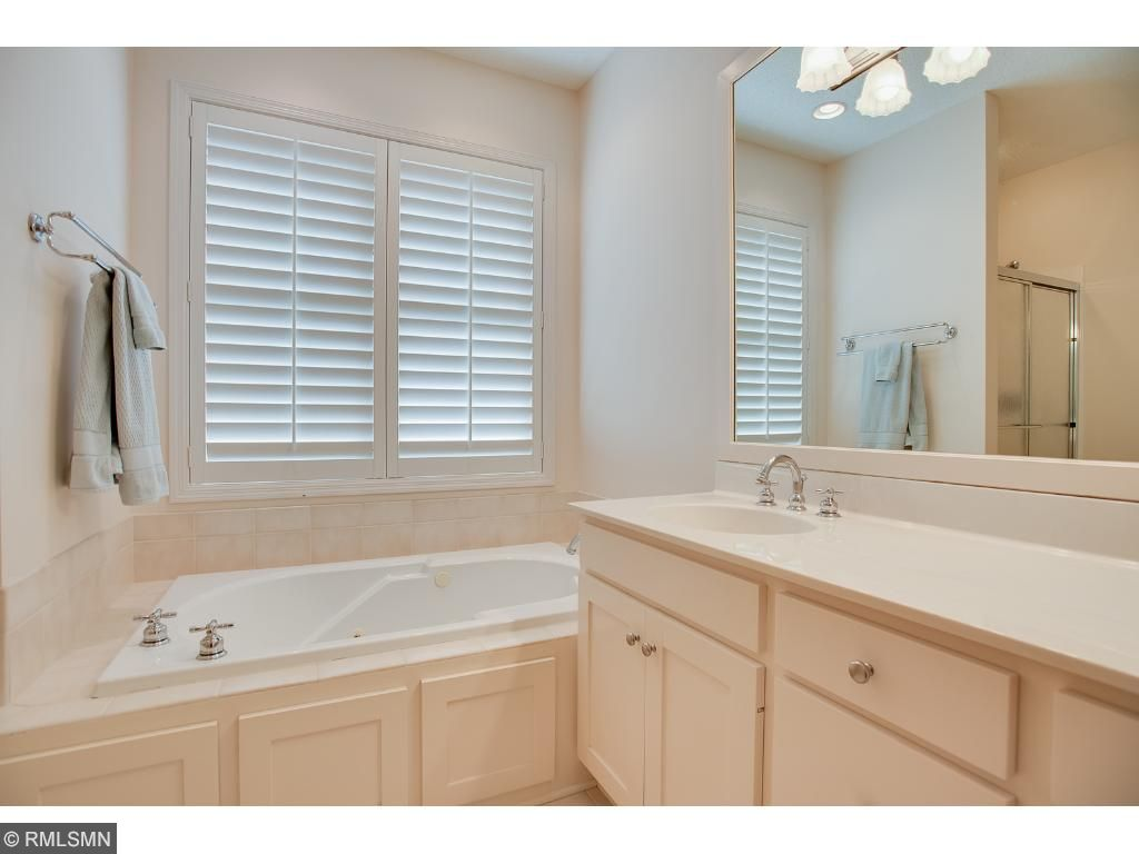 Master bath is large enough for two with room to move and extra counter space. Jacuzzi tub and walk-in shower.