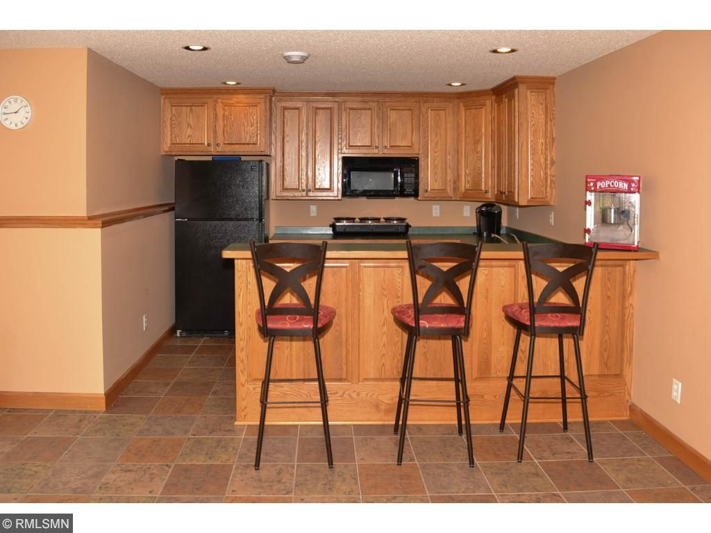 Lower level kitchen for entertaining guests.