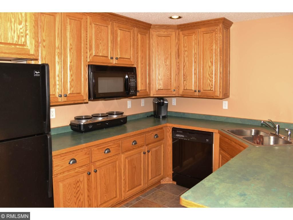Lower level kitchen includes refrigerator, dishwasher and microwave.