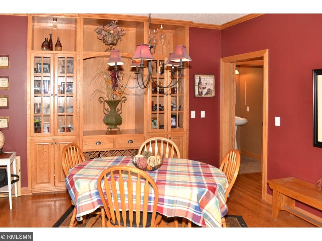 Dining room with custom built-in cabinets.