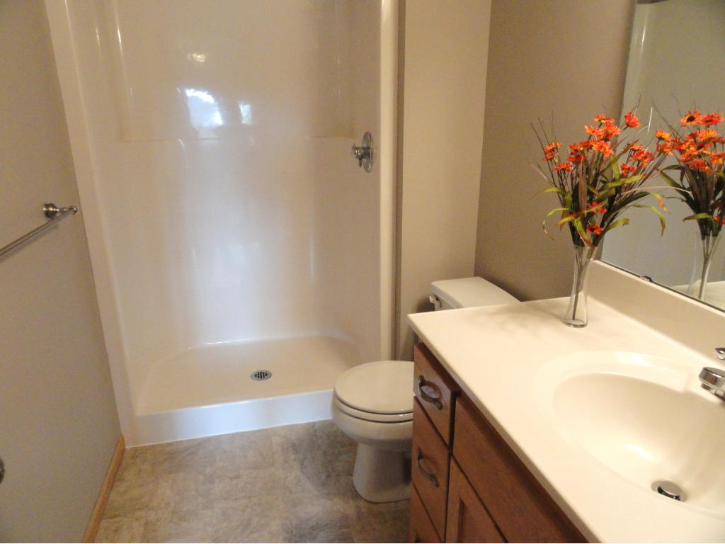 Master 3/4 bathroom has an oak vanity and new flooring and paint.