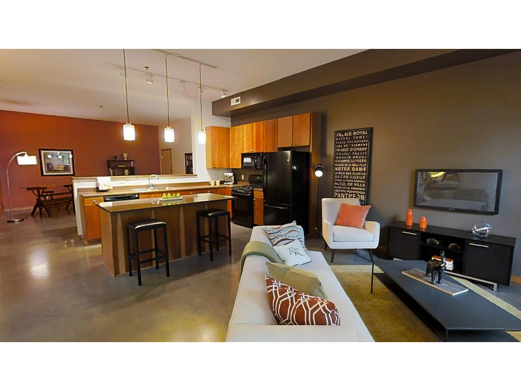 In true loft character, this space is large and open