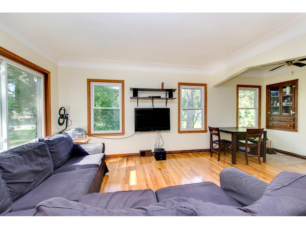 Large living room has plenty of natural light.