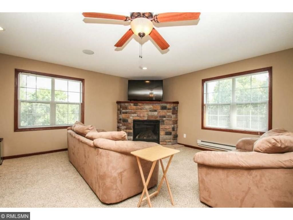 Fireplace in huge bonus room over the garage!