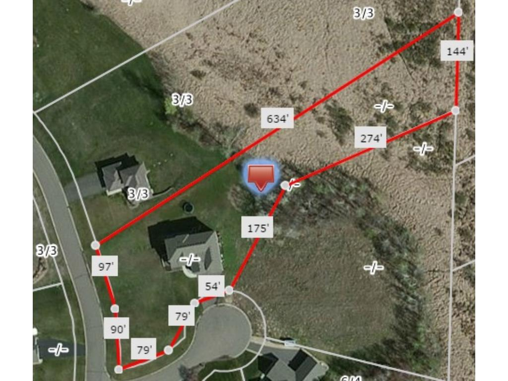 Aerial view with estimated lot dimensions courtesy of NorthstarMLS Realist.