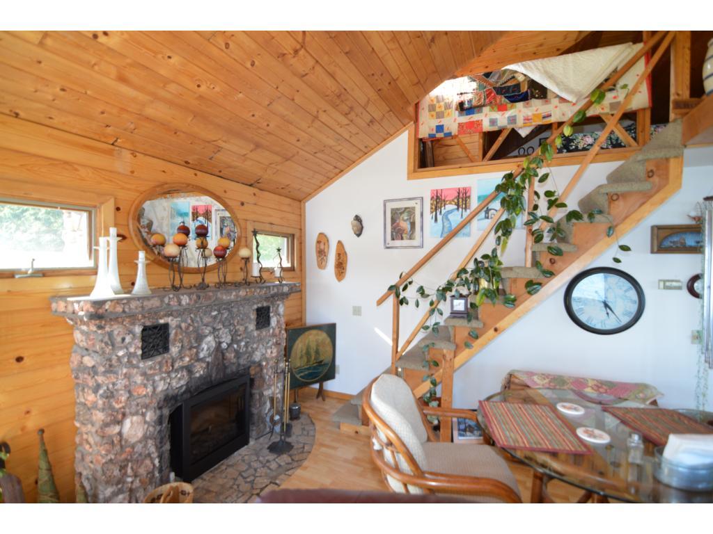 Stone wood fireplace.