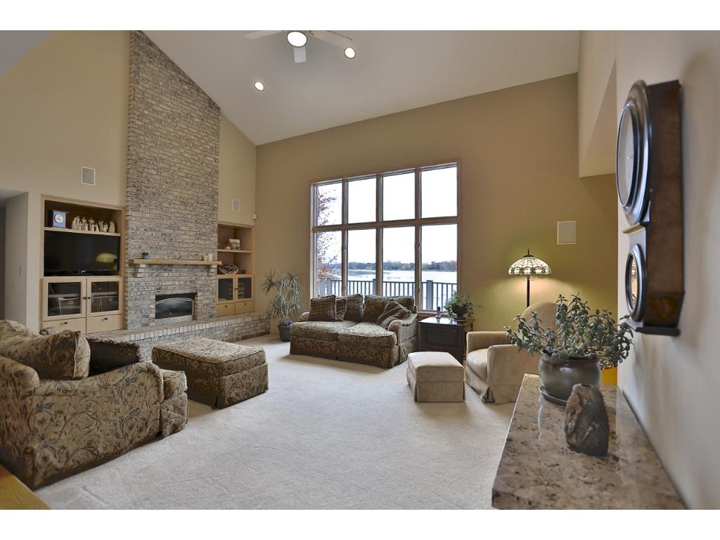 Great Room Highlights a Lovely View of Lake Owasso