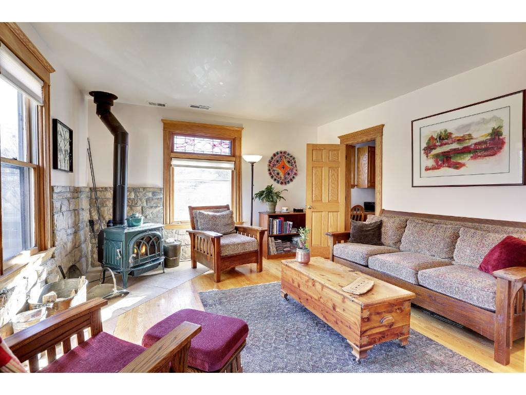 Living room with wood stove - upper