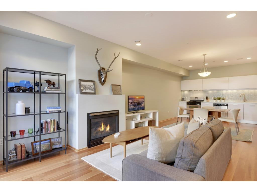 Stunning main level with high ceilings and stunning gas fireplace