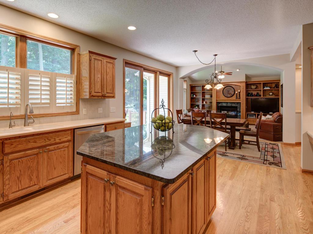 Large granite center island anchors amazing kitchen with access to backyard and flowing effortlessly into vaulted family room with fireplace and built-ins.