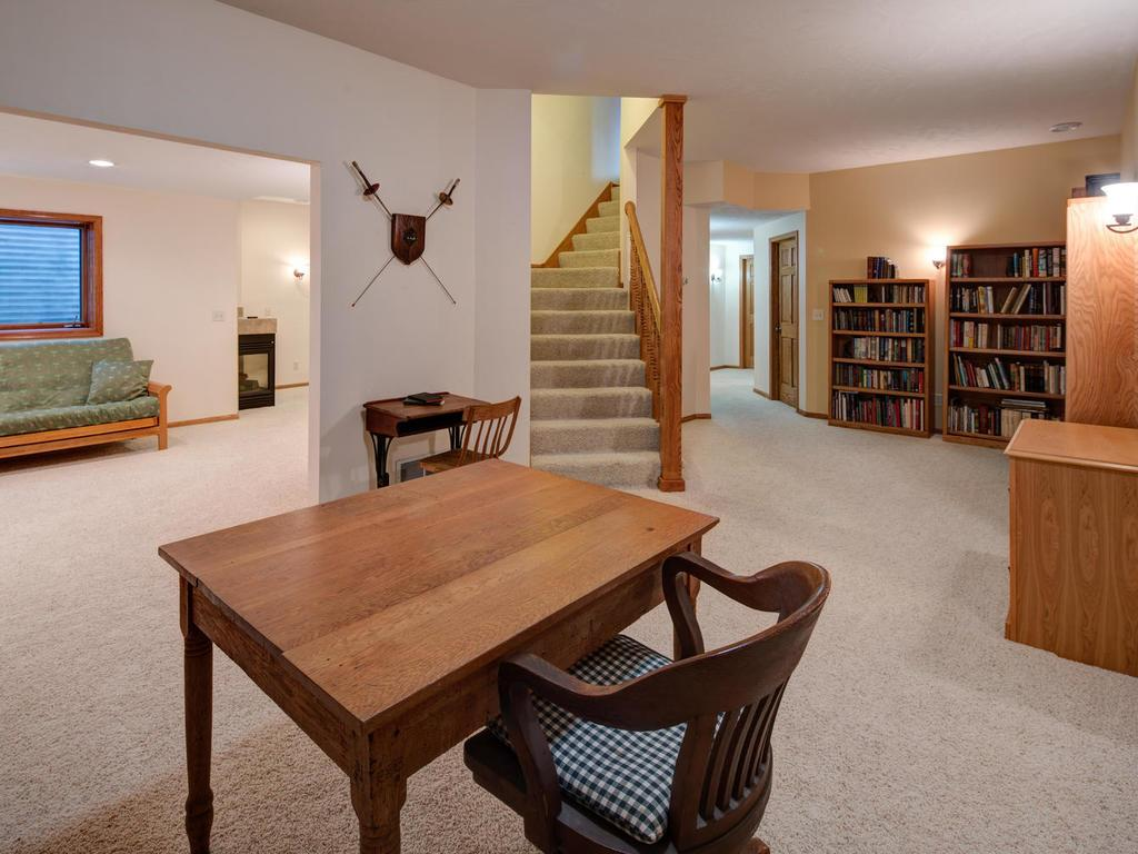 Very large lower level with space for another office, or perhaps a crafting or hobby area.