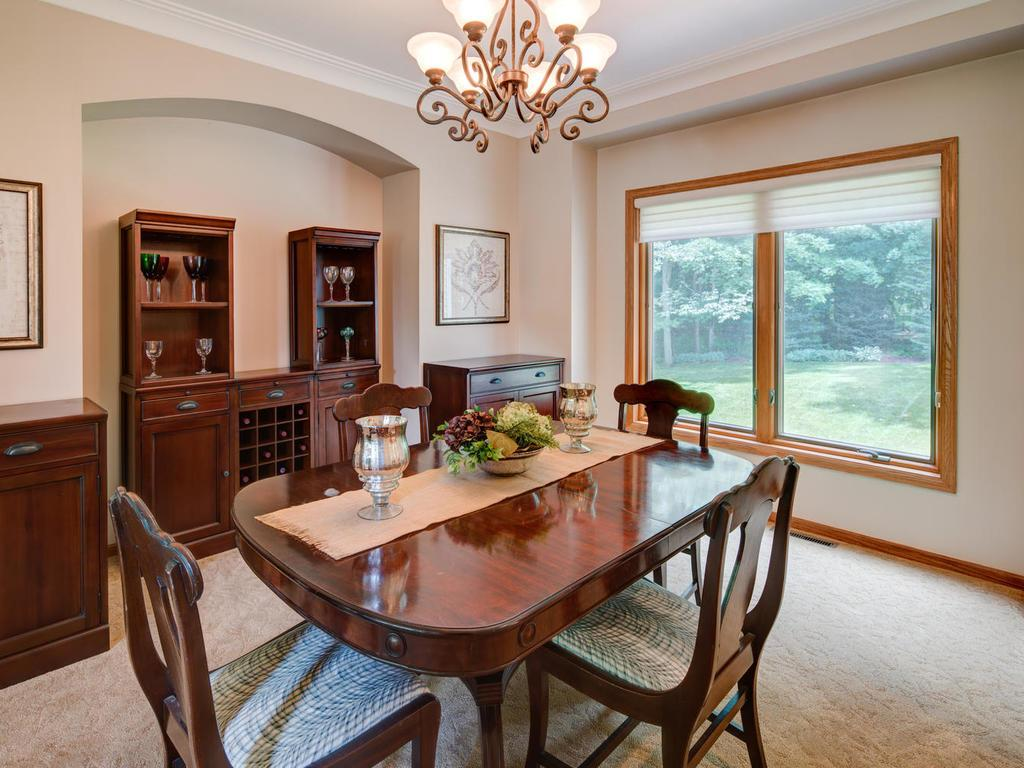 Inset wall provides additional space for buffet and highlights beauty of the dining room.