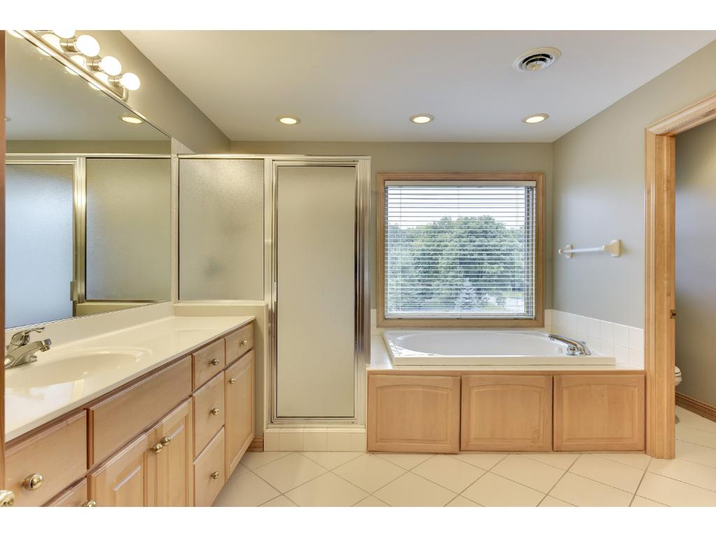 Large owner's suite bathroom with Jacuzzi tub and shower.