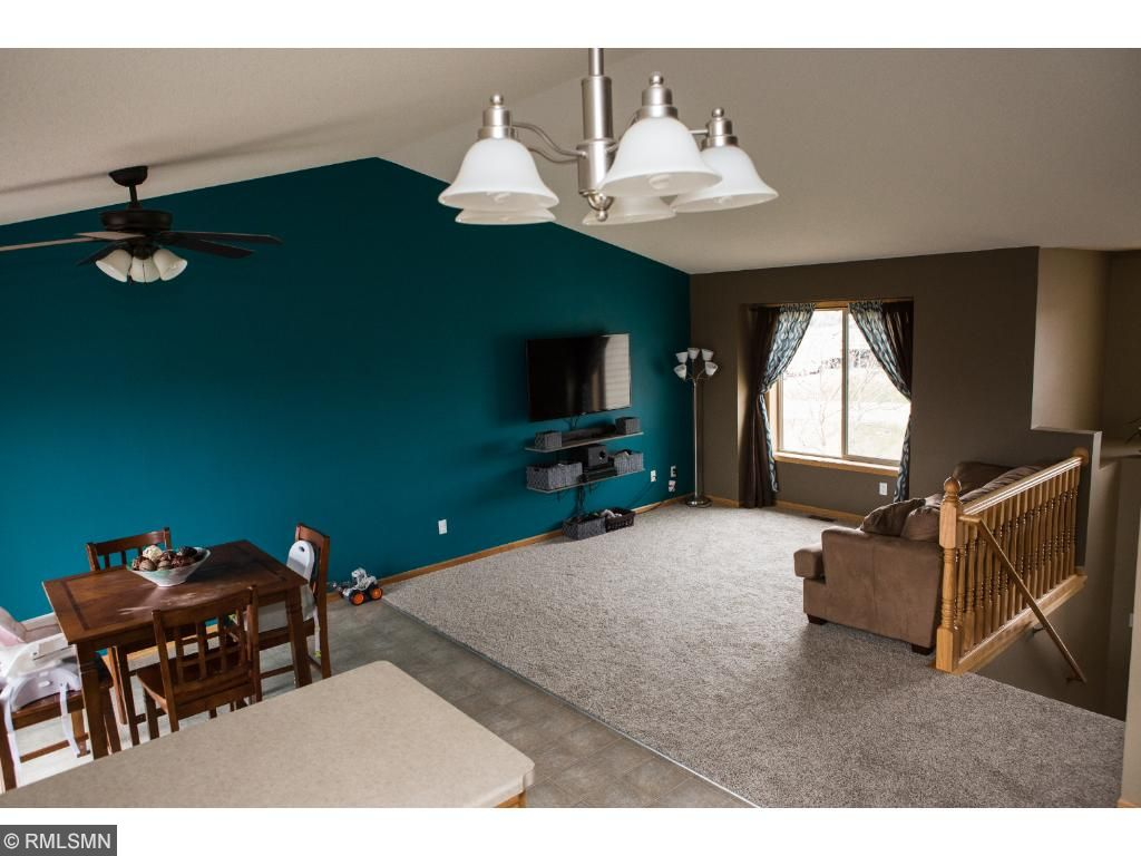 Open kitchen, dining, living room area!