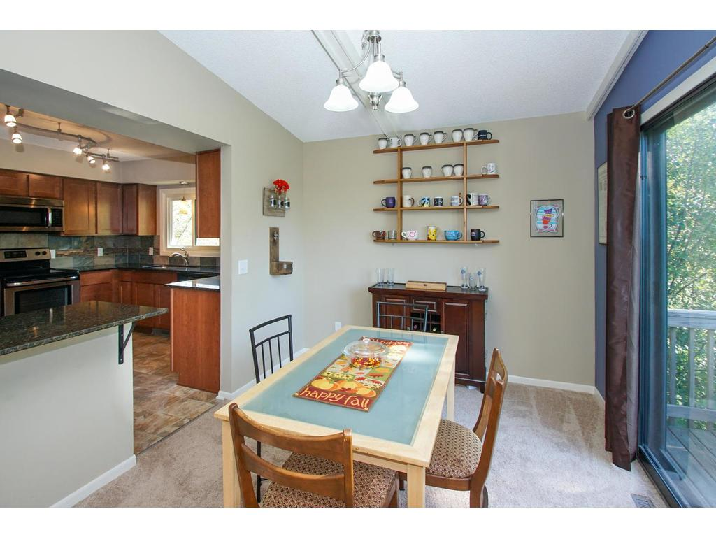 The easy flow from kitchen to dining room makes family meals a time of togetherness.