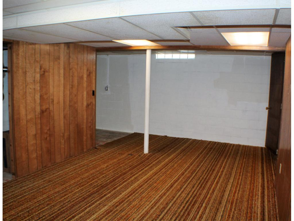 Finished family room in the basement.