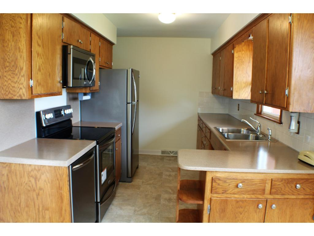 All new stainless steel appliances and a dishwasher too! (never used), counters and flooring.