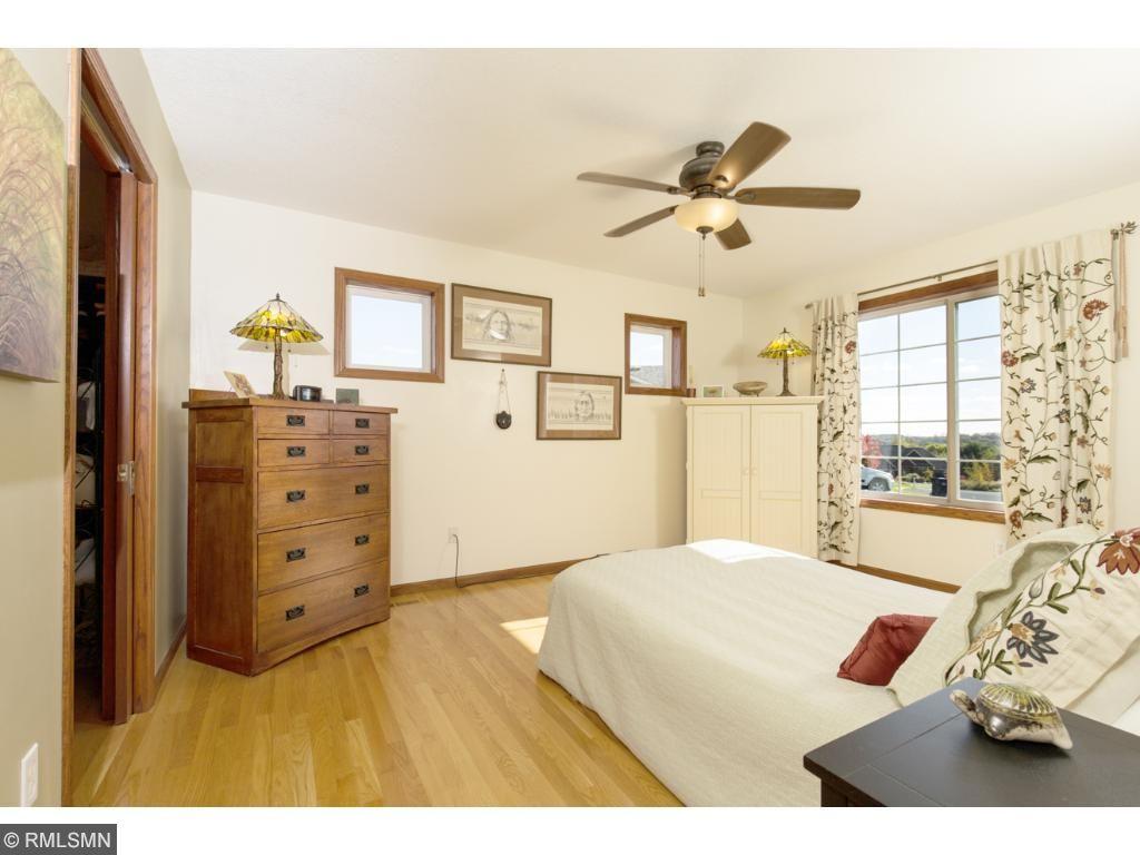 Master bedroom showing closet with pocket door.