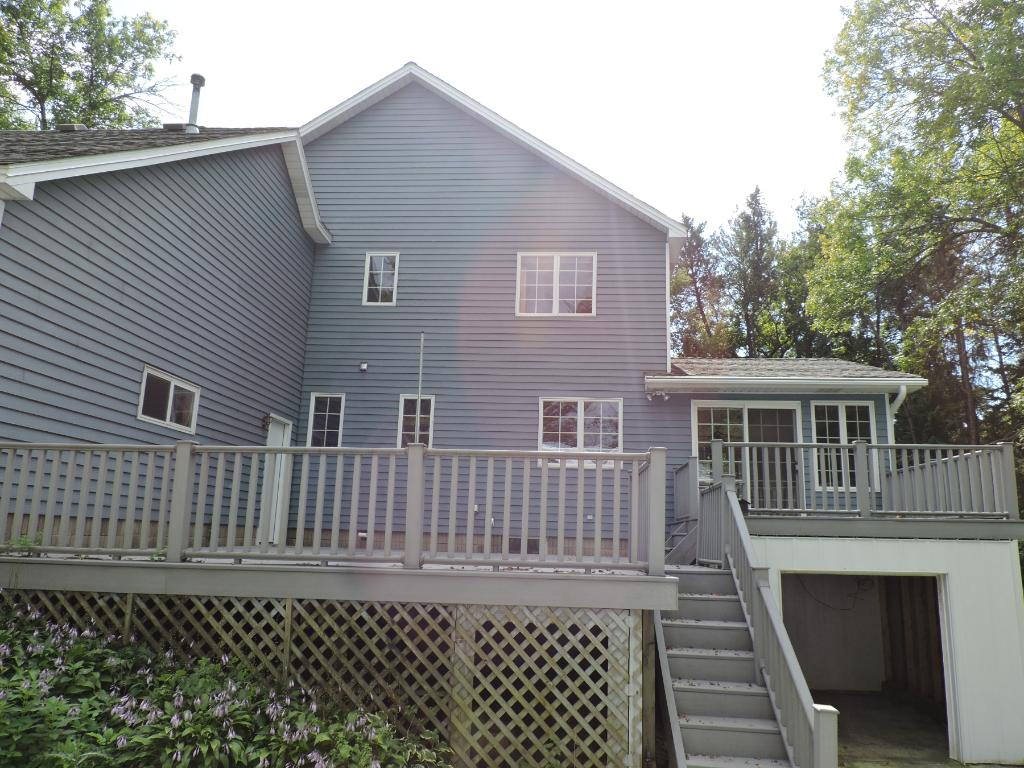 Rear view of the house, 2 large decks and additional storage under deck.