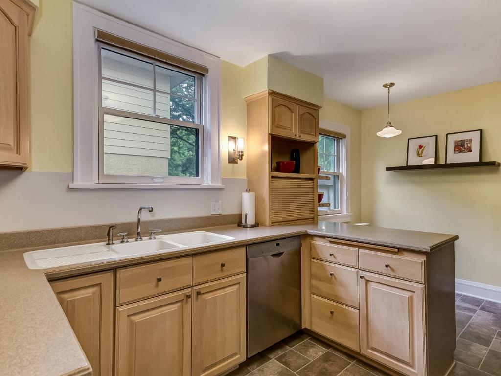 Great updated kitchen with double sinks and breakfast nook.