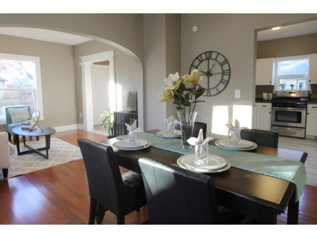 Dining room showing view to living and kitchen. Perfect for entertaining!
