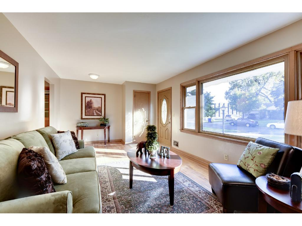 The living room also includes a foyer closet and new front door with a full view glass door.