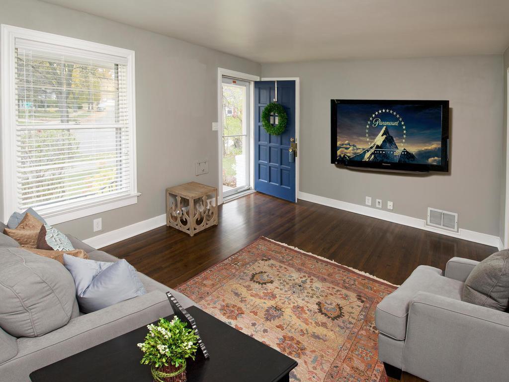 New flat ceiling and refinished hardwood floors