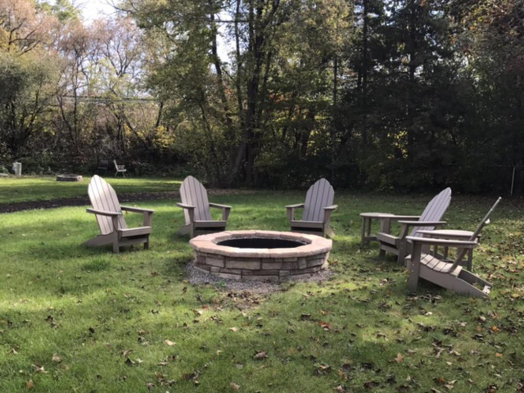 Built-in fire pit for roasting marshmellows