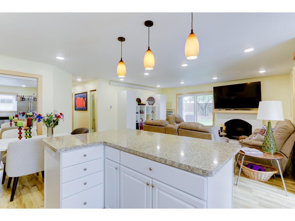 New LED lighting over the kitchen center island