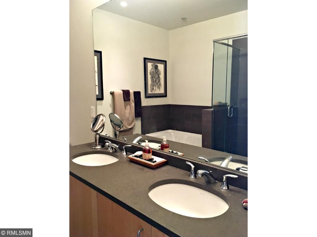 Master bathroom with his and her dual vanity.