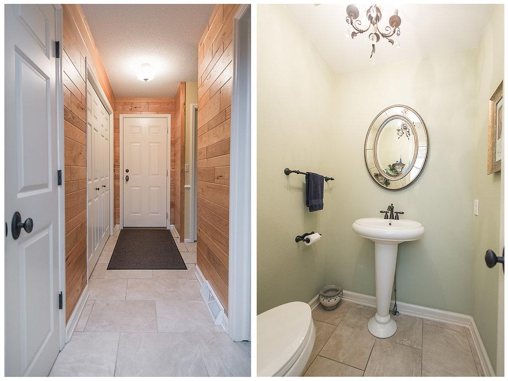 Main level 1/2 bath and tiled floors - quick access to the 3 stall garage with whisper doors:)