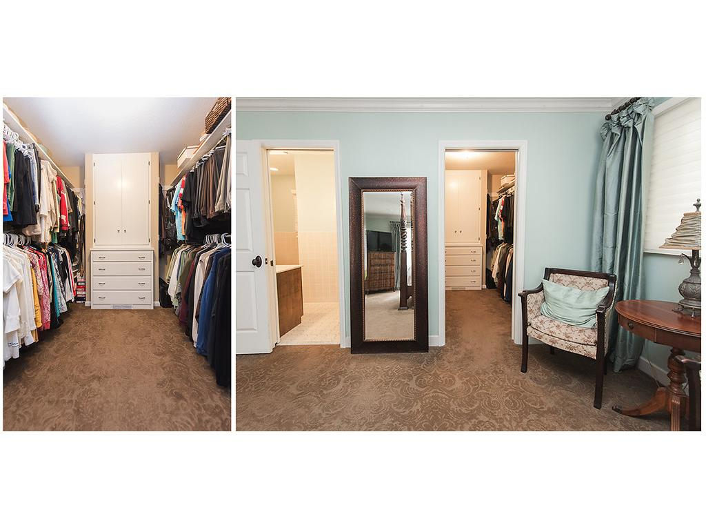Monster walk in closets with built ins!