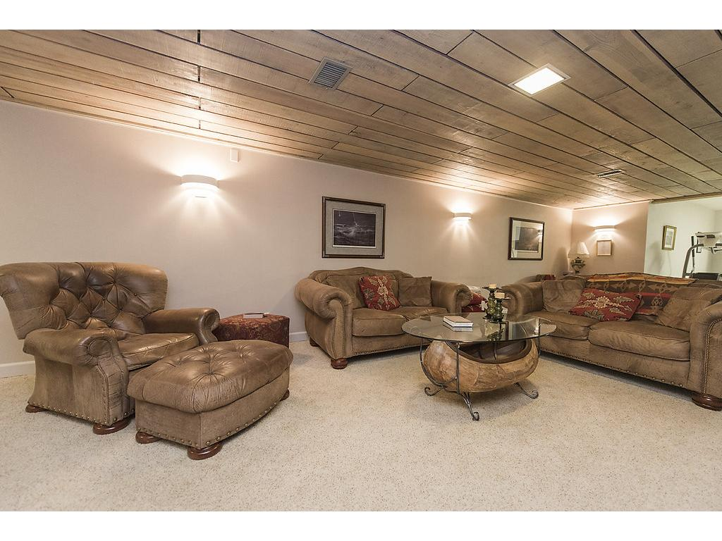 Lower level is a gem - wood fireplace, custom wood ceiling, large area, fitness room connected and more storage available.