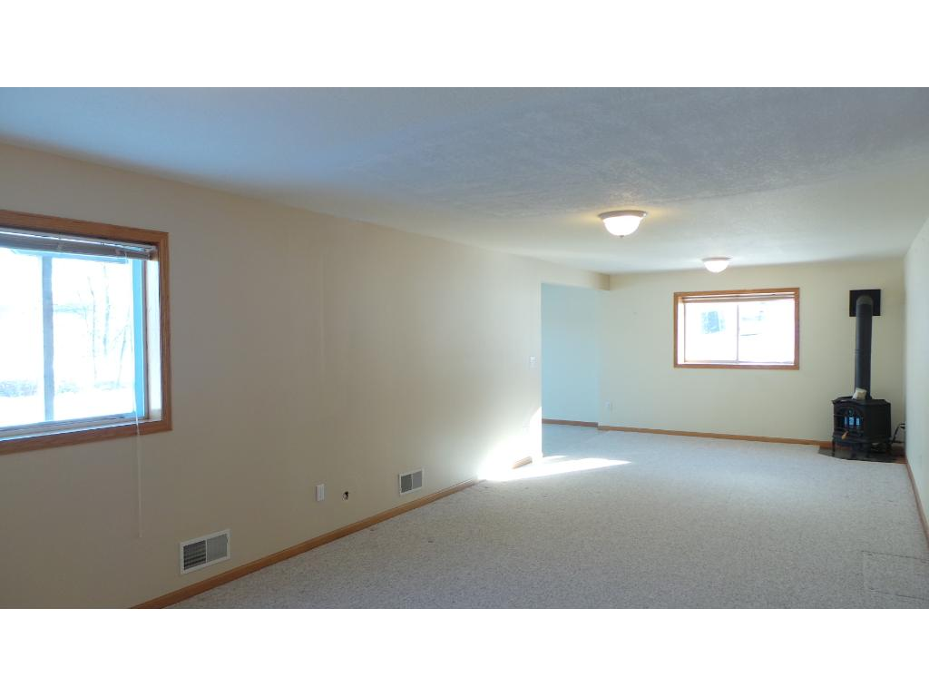 Spacious family room with gas stove