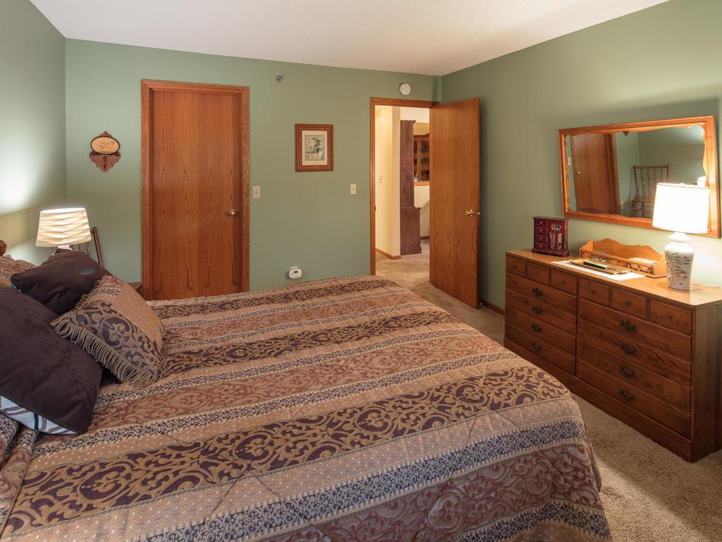The master bedroom has a big walk in closet.