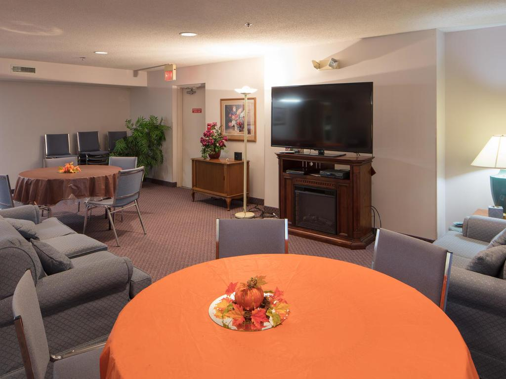 The big screen TV in the Community Room is perfect for sporting events or movies.