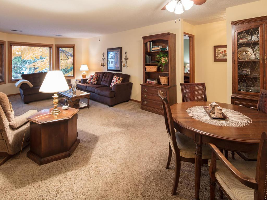 The living room is spacious and had brand new energy efficient windows installed in 2015!