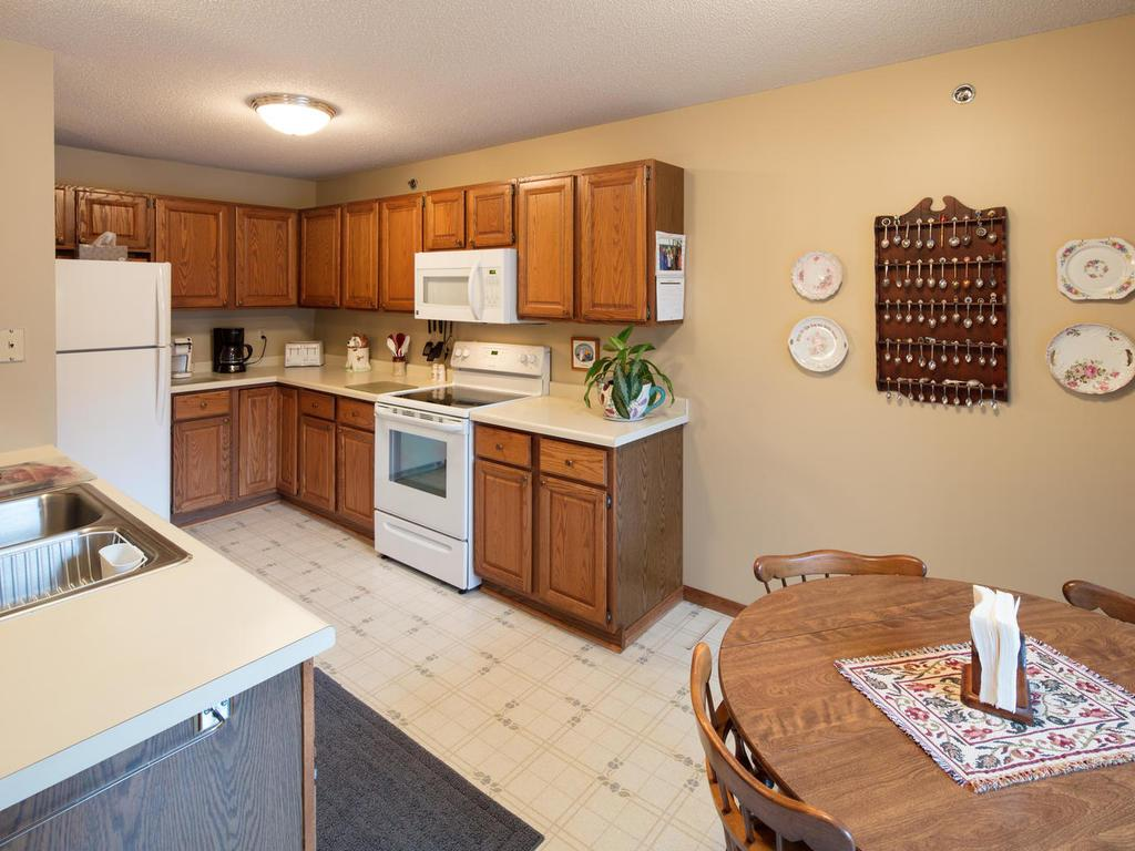 In the kitchen you will find ample storage and counter space!