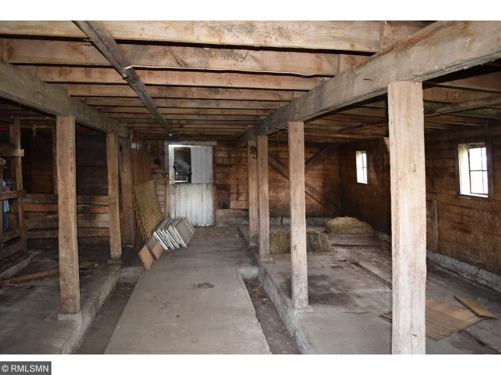 The inside of the barn.